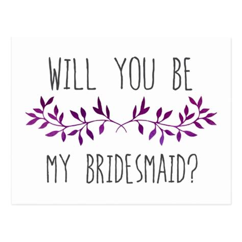be my in will you be my bridesmaid watercolor branches postcard