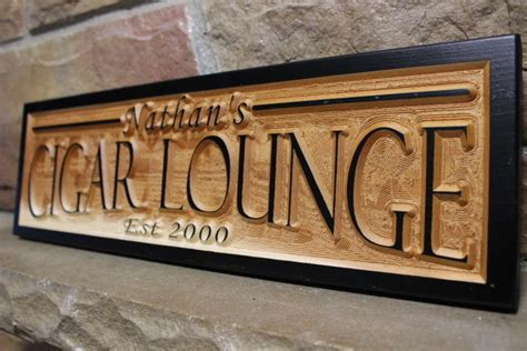 cigar lounge personalized custom carved wood sign rustic plaque bar signs wooden ebay