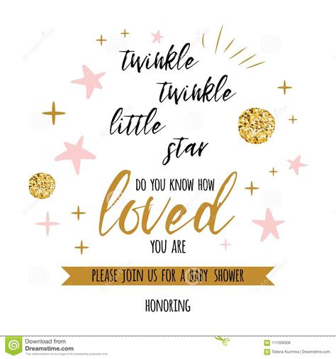 Twinkle Twinkle Little Star Text With Golden Oranment And Pink Star For Girl Baby Shower Card Baby Shower Text Template