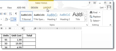 table layout tab word how to total rows and columns in a word 2013 table