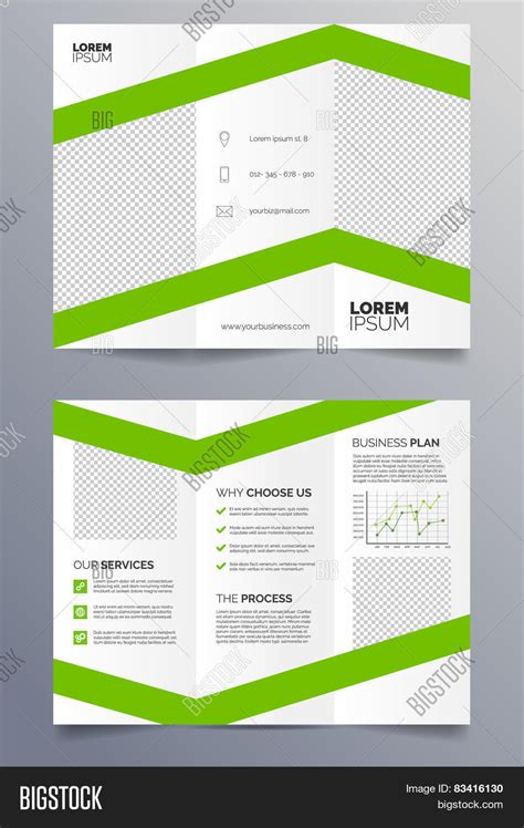 business trifold brochure template green and white sleek