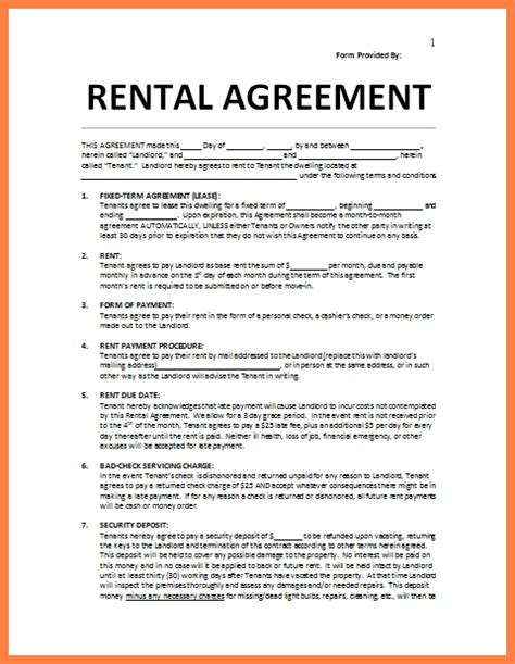 28 rental lease agreement word template agreement