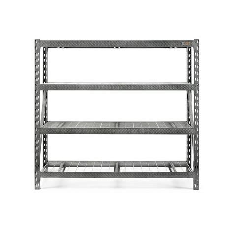 lowes shelving units shop gladiator 72 in h x 77 in w x 24 in d 4 tier steel freestanding shelving unit at lowes
