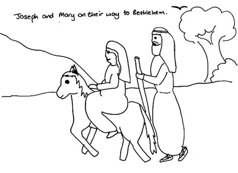 coloring pages mary and joseph bethlehem joseph and mary and the donkey on their way to bethlehem