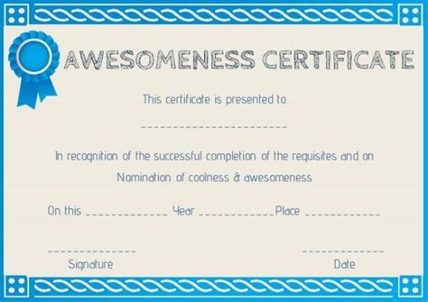 certificate of awesomeness template certificate of awesomeness template certificate of
