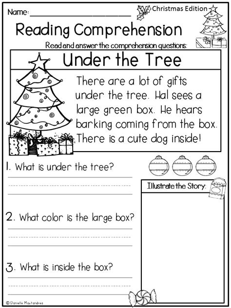 free christmas printable worksheets reading comprehension reading comprehension passages december kindergarten
