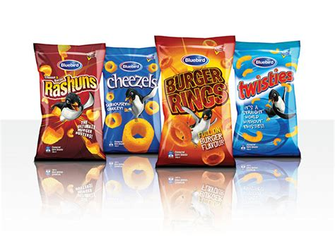 bluebird masterbrand chips and snacks packaging on behance