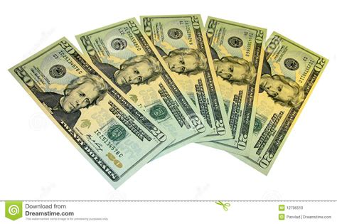 twenty five dollars five twenty dollar banknotes royalty free stock images