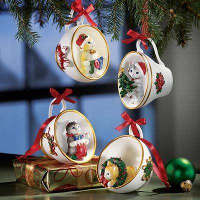 christmas kittens  tea cups christmas ornaments