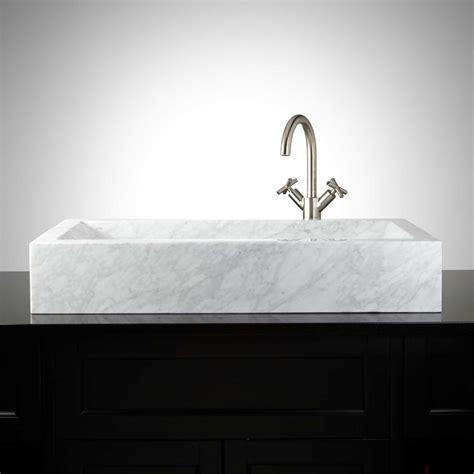 bathroom basin sink rectangular polished carrara marble vessel sink with sloped basin vessel sinks