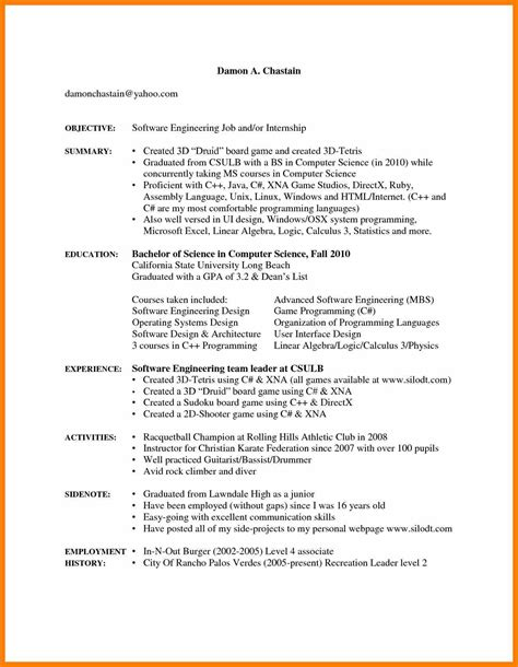 Resume Templates With Employment Gaps 4 Sle Resume With Gaps In Employment Hostess Resume