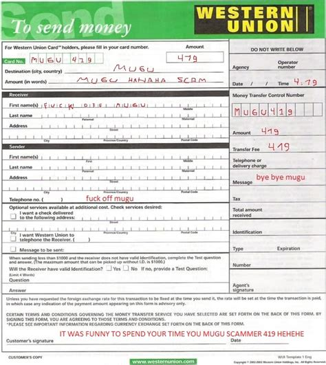 transfer money from bank to western union scamorama