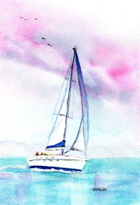 sailing boat watercolour watercolor sailboat original painting 5x7 inch 8x10