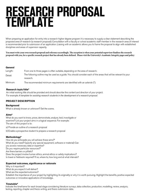 Permalink to One Page Research Proposal Template