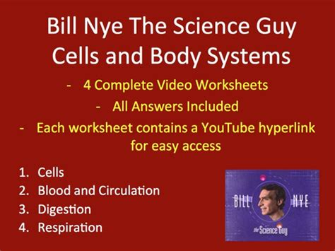 Bill Nye The Science Cells Worksheet by Bill Nye Worksheets Four Biology Cells And