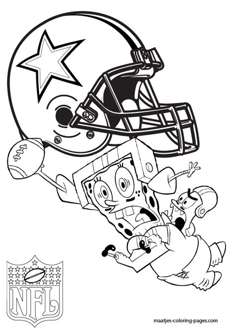 spongebob nfl coloring pages dallas cowboys patrick and spongebob coloring pages