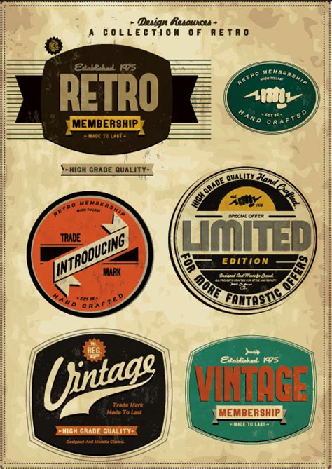 3d Sticker Vintage by Set Of Vintage Commerce Labels Stickers 01 Free