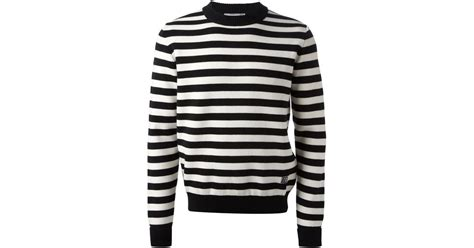 ami striped sweater in black for lyst