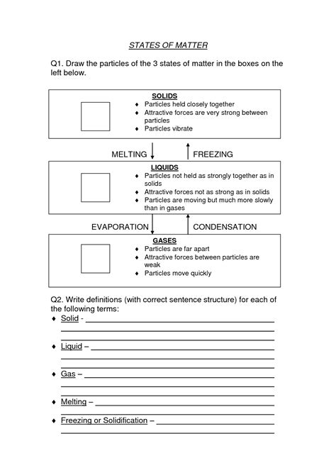 5th grade science worksheets on matter solid liquid gas