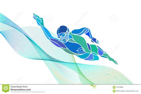 clipart nuoto freestyle swimmer silhouette sport swimming stock vector