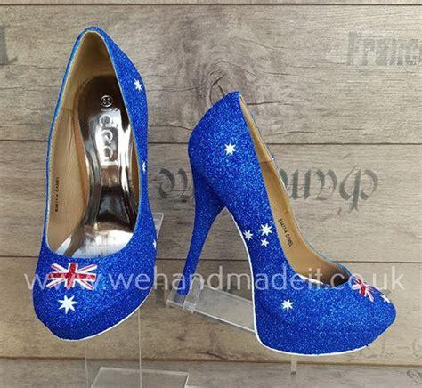 Australian Handmade Shoes - australia flag custom glitter shoes heel or wedge