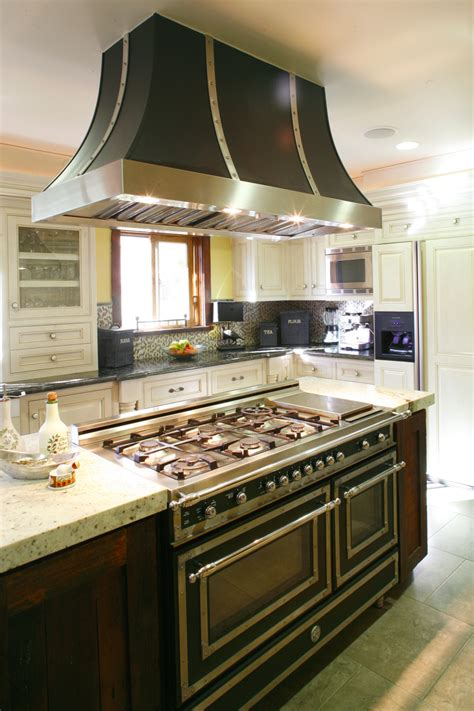 kitchen with stove in island bertazzoni heritage series ranges and hoods the official