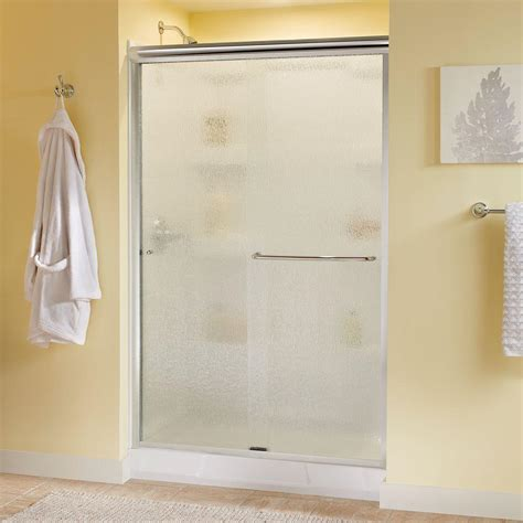 Raindrop Glass Shower Door Delta Simplicity 48 In X 70 In Semi Framed Sliding Shower Door In Bronze With Glass