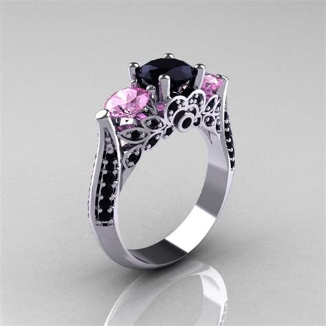 14k white gold three light pink sapphire black