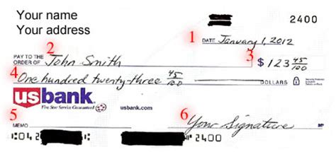 exle of written check filling out a check