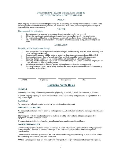 environmental health and safety plan template health and safety plan generic