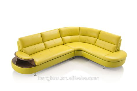 kangbao vv sofa l shape yellow leather sofa set wood and
