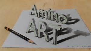 draw a 3d amino magic letters optical illusion