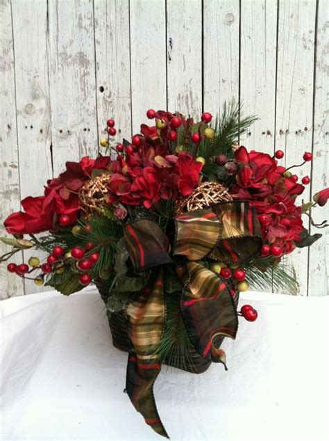 large christmas flower centerpiece christmas basket