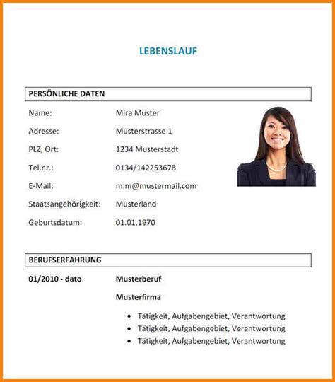 Bewerbung Deckblatt Vorlagen Doc 6 Lebenslauf Muster Doc Resignation Format