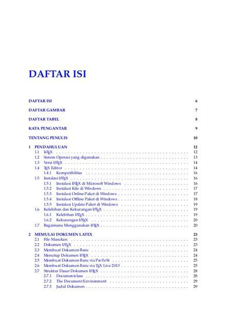 membuat daftar isi pada latex membuat dokumen latex eleventh edition