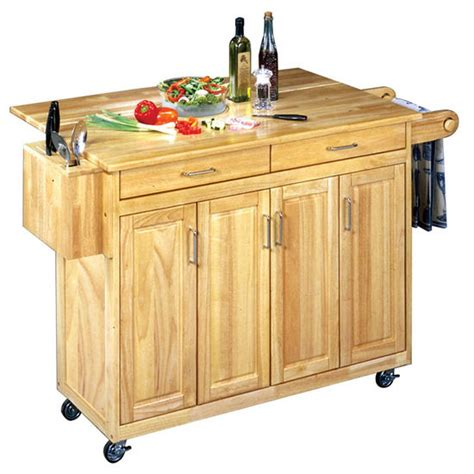 home styles finish kitchen cart with breakfast bar