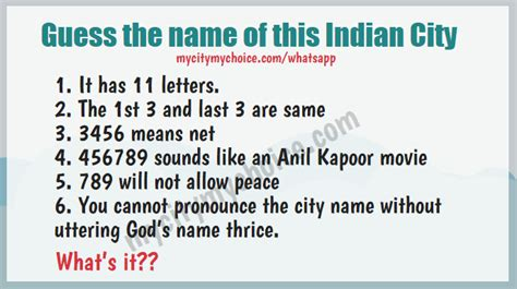 name this guess the name of this indian city whatsapp puzzle