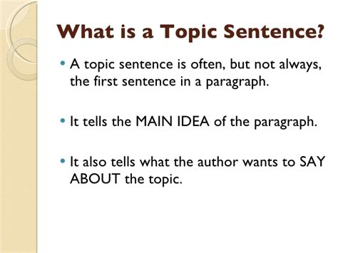A Topic by Topic Sentences