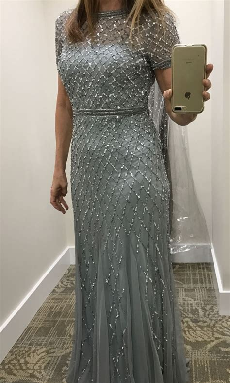 blue beaded gown papell cap sleeve beaded gown blue mist size 8