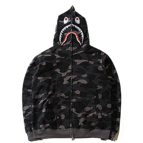 Sweater Jaket A Bathing Bape a bathing ape bape wgm camo shark hoodie black