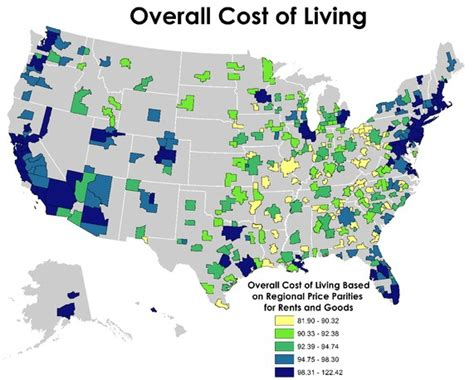 cost of living by state map top 10 cities to grow wealthy in the united states