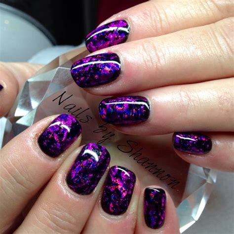 foil nail beautiful purple and photos on