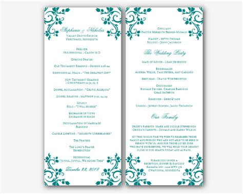 free printable wedding program templates word free wedding program templates word best business template