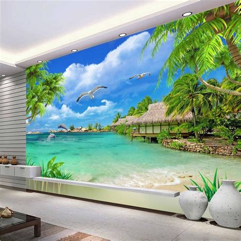 Custom 3d Photo Wallpaper Seascape Palm Wall Covering Mural Roll custom size modern wall wallpaper tropical maldives tourism landscape luxury wall covering