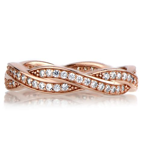 devera s gold twisted cz wedding ring band