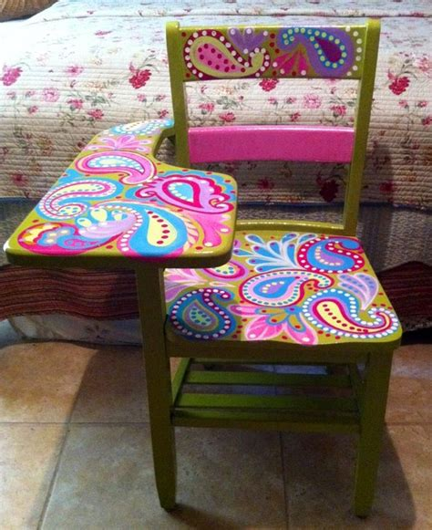 desk painting ideas paisley painted desk hand painted school desk handpainted idea painted furniture painted