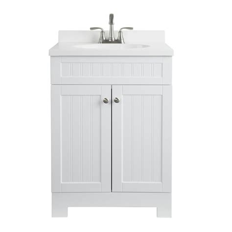 White Bathroom Vanity With Marble Top by Shop Style Selections Ellenbee White Integrated Single