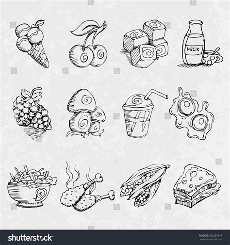 doodle vintage vintage doodle sketch food icons stock vector illustration