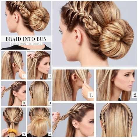 put your hair in a bun with braids wonderful diy braid into bun hairstyle