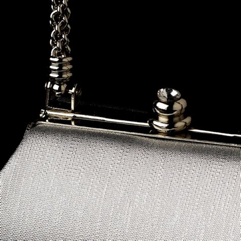 New Arrival Bna Bag Top Handle 2268 stunning metallic silver satin evening bag w silver rope handle rhinestone closure 8022